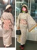 Nyaki さんの「エッフェル塔,ビスケット柄着物(mizuame)」を使ったコーディネート