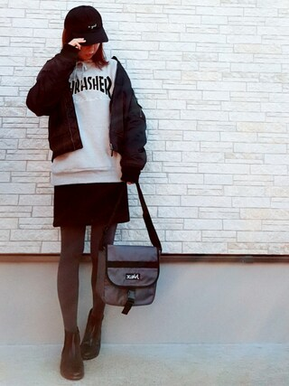 「CURSIVE LOGO COTTON CAP /キャップ/ロゴ刺繍/無地/トレンド/人気/ワンポイント/シンプル(X-girl)」 using this **ゆぅ** looks
