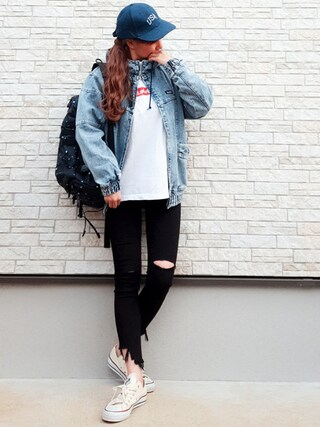 「DENIM BIG BLOUSON(X-girl)」 using this **ゆぅ** looks