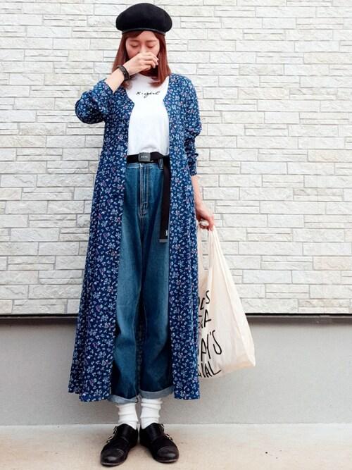 **ゆぅ**さんの「MIDNIGHT FLOWER DRESS(X-girl)」を使ったコーディネート