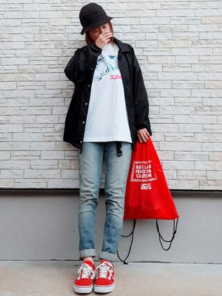 「【WEB限定】R LOGO COACH JACKET(X-girl)」 using this **ゆぅ** looks
