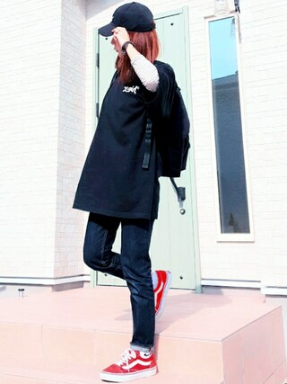 **ゆぅ**さんの「CURSIVE LOGO COTTON CAP /キャップ/ロゴ刺繍/無地/トレンド/人気/ワンポイント/シンプル(X-girl|エックスガール)」を使ったコーディネート
