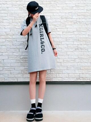 **ゆぅ**さんの「【X-girl×Starter Black Label 】 LOGO CAP(X-girl|エックスガール)」を使ったコーディネート