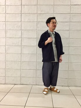 Bshop ミント神戸店 kogarasuさんのシャツ/ブラウス「オープンカラーファティーグシャツ RMV MEN(Morris & Sons モリスアンドサンズ)」を使ったコーディネート