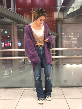 Ciaopanic HEP FIVE店|saori shikiさんの「コットンボリュームカーディガン(Ciaopanic)」を使ったコーディネート