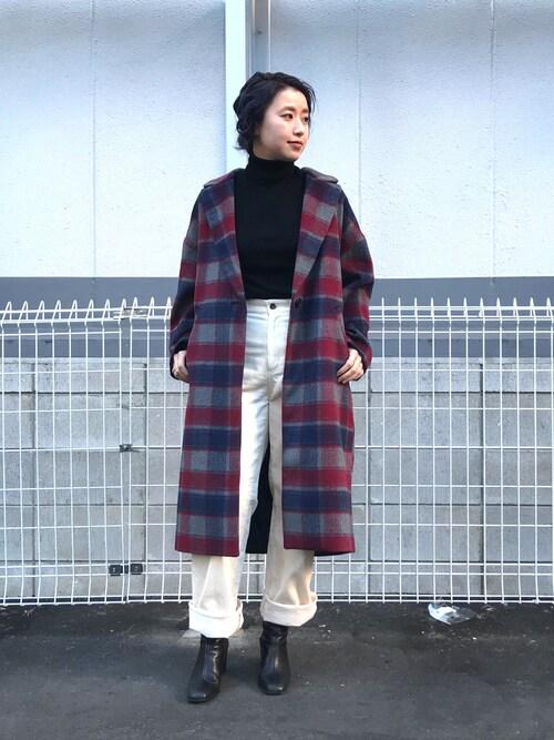 Ciaopanic HEP FIVE店saori shikiさんのチェスターコート「チェックシャギーコート(CIAOPANIC|チャオパニック)」を使ったコーディネート