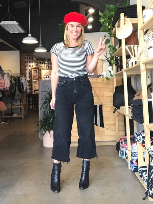 「Topshop Moto washed black wide leg jeans(Topshop)」 using this Karen  looks