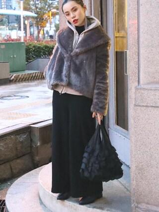 るうこさんの「【まいぷぅ企画】フェイクファーBIGラペルジャケット 566158(Heather|ヘザー)」を使ったコーディネート