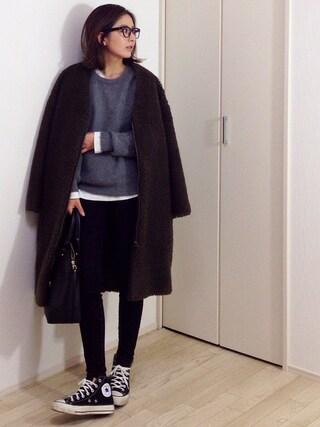 mayumiさんの「BONAPETIT (ボナペティ)  ボアノーカラーコート(BONAPETIT ボナペティー)」を使ったコーディネート