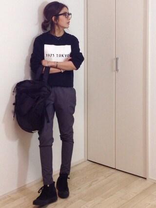 mayumiさんの「1975 tokyo   1975 BOXロゴロングTシャツ(1975 tokyo|1975 トーキョー)」を使ったコーディネート