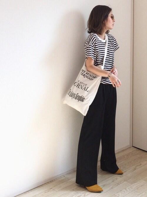 mayumiさんの「via j (ヴィアジェイ)  ボーダー半袖Tシャツ(via j)」を使ったコーディネート