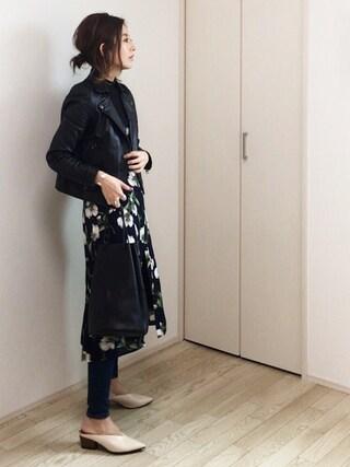 mayumiさんの「STUDIOUS シャインダブルライダースジャケット(STUDIOUS|ステュディオス)」を使ったコーディネート