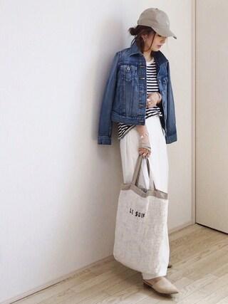 mayumiさんの「via j (ヴィアジェイ)  ボーダー半袖Tシャツ(via j|ヴィアジェイ)」を使ったコーディネート
