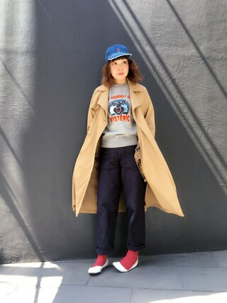 「SOUND GENERATION裏総柄 トレンチコート(HYSTERIC GLAMOUR)」 using this HYSTERIC GLAMOUR福岡店|happachin looks