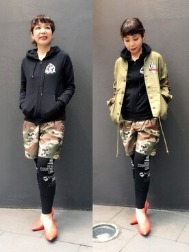 HYSTERIC GLAMOUR福岡店|happachinさんの「CL/COURTNEY SCRATCH pt レギンス(HYSTERIC GLAMOUR)」を使ったコーディネート