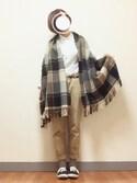 ❀ fuma ❀さんの「【reca大人気アイテム】チェック柄大判ストール(reca|レカ)」を使ったコーディネート