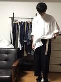 motoさんの「エクストラファインコットンオーバーサイズロングシャツ(長袖)(ユニクロ|ユニクロ)」を使ったコーディネート