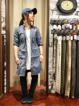 AVIREX 心斎橋|uchiharaさんの「【直営店限定】 DS TB L/S STENCIL WORK SHIRT ONE PIECE/ タイプブルー ワークシャツ ワンピ-ス(AVIREX)」を使ったコーディネート