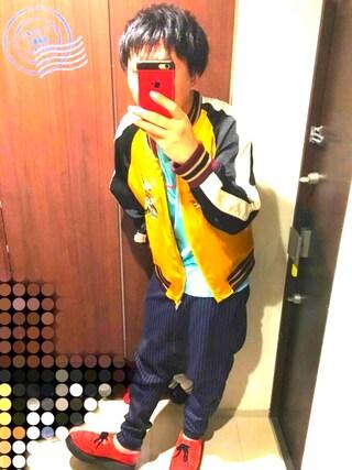「ストライプサルエルパンツ(antiqua)」 using this rikuto looks