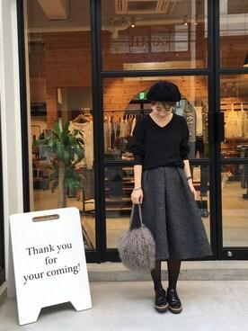 LIFE's堀江店|MIZUKI TANAKAさんの「フレアニットスカート(TODAYFUL)」を使ったコーディネート