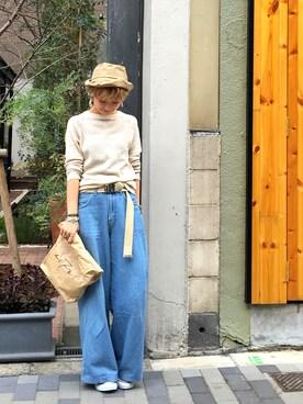 「ラグランワッフルニット(TODAYFUL)」 using this LIFE's堀江店|MIZUKI TANAKA looks