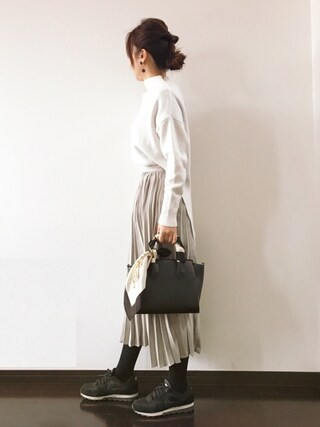 Saë..♥さんの「フェイクスエードプリーツミドル丈スカート(mysty woman|ミスティウーマン)」を使ったコーディネート