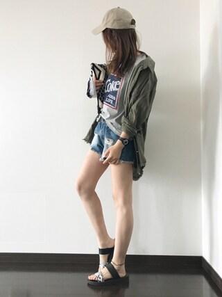 Saë..♥さんの「裾フリンジシャツ(VENCEEXCHANGE ヴァンスエクスチェンジ)」を使ったコーディネート