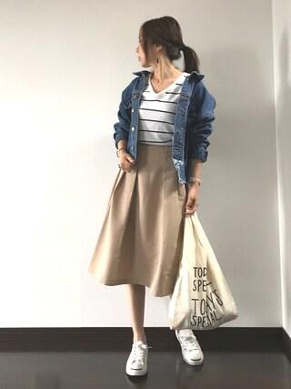 Saë..♥さんの「リメイク風カットオフGジャン(natural couture ナチュラルクチュール)」を使ったコーディネート