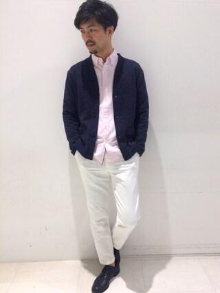 a.v.v|sudoさんの「【メガネ刺繍NEWver.】長袖オックスシャツ(a.v.v|アー・ヴェ・ヴェ)」を使ったコーディネート