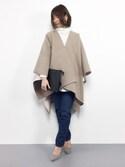 mayukoさんの「2 tone wool cape(eimy istoire|エイミーイストワール)」を使ったコーディネート