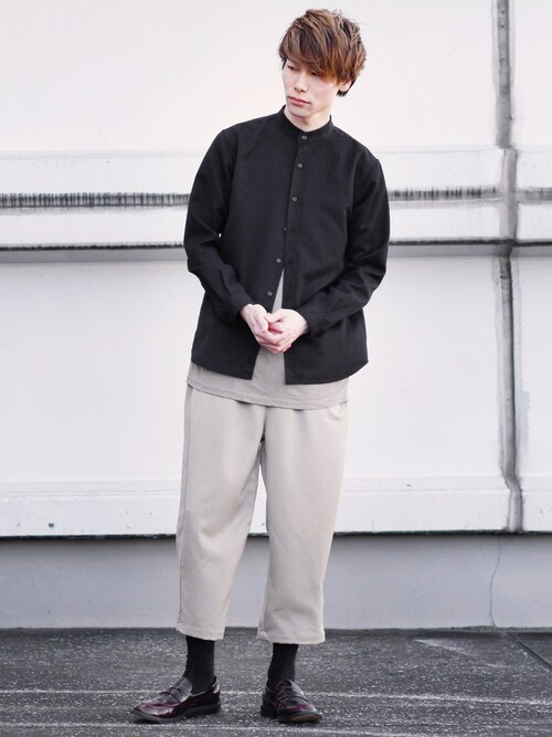 MONO-MARTNatoさんのシャツ/ブラウス「T/R ストレッチ バンドカラーシャツ(MONO-MART|モノマート)」を使ったコーディネート