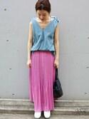 Suzyさんの「《予約》ボイルプリーツスカート◆(IENA|イエナ)」を使ったコーディネート