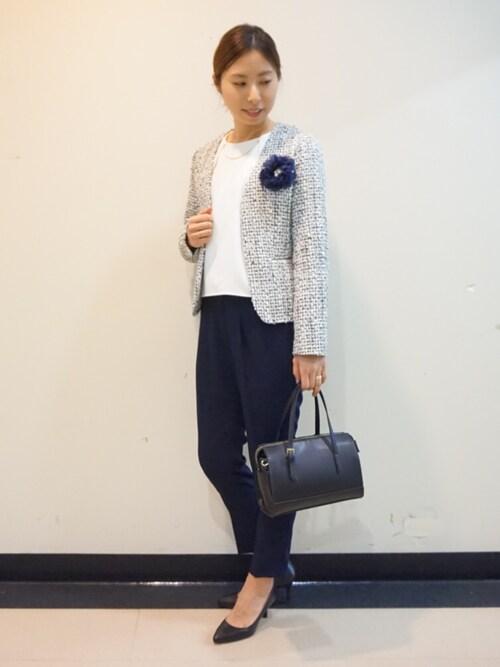 ツイードジャケット×パンツ │ママの入学式コーデ