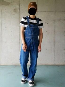 Yuukiさんの「カンアミワイドボーダー半袖/557459(GLOBAL WORK グローバルワーク)」を使ったコーディネート