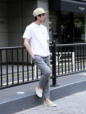417 by EDIFICE渋谷店 EDIFICE PR/SHINGOさんのTシャツ/カットソー「《予約》LACOSTE(ラコステ)別注ポケットTシャツ(LACOSTE ラコステ)」を使ったコーディネート