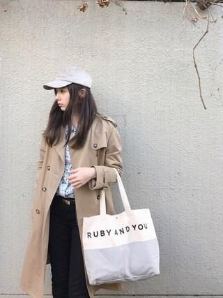 AMOさんの「ロングトレンチコート(RUBY AND YOU|ルビー アンド ユー)」を使ったコーディネート