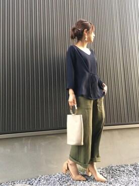 Haru☆さんのシャツ/ブラウス「2WAY フレアシルエットブラウス◆(Spick and Span Noble|スピックアンドスパンノーブル)」を使ったコーディネート