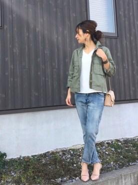 Haru☆さんの「≪予約≫ワークショートジャケット  ツイカ◆(FRAMeWORK|フレームワーク)」を使ったコーディネート