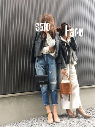 Haru☆さんの「ラムレザー ライダースジャケット◆(Spick & Span|スピック&スパン)」を使ったコーディネート