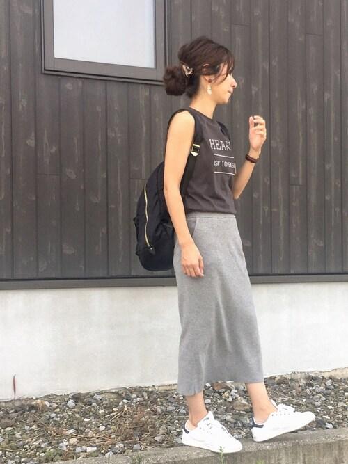 Haru☆さんのTシャツ/カットソー「グラフィックノースリーブTシャツ(nano・universe ナノユニバース)」を使ったコーディネート