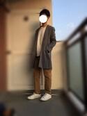 ちぇるくんさんの「TRストレッチスーツ地スプリングチェスターコート(MONO-MART モノマート)」を使ったコーディネート