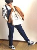 momoiさんの「デニムサロペットパンツ【niko and ...】(niko and...|ニコアンド)」を使ったコーディネート