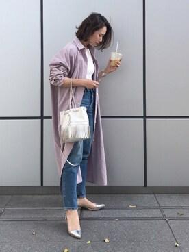 yuさんの「LONG OVER SHIRTS(marjour)」を使ったコーディネート