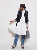 yuさんの「レザーライダースジャケット WOMEN(beautiful people|フレイ アイディー)」を使ったコーディネート
