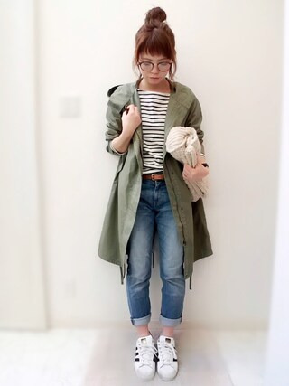 maamin♡さんの「WOMEN ボーダーボートネックT(長袖)A(ユニクロ|ユニクロ)」を使ったコーディネート