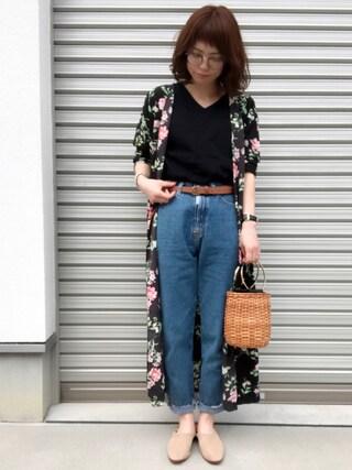 「16/-OE天竺ポケット付きVネックTシャツ(E hyphen world gallery)」 using this maamin♡ looks