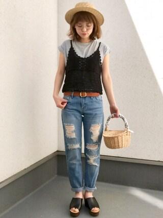 maamin♡さんの「ポケット付きTシャツ(GRL グレイル)」を使ったコーディネート