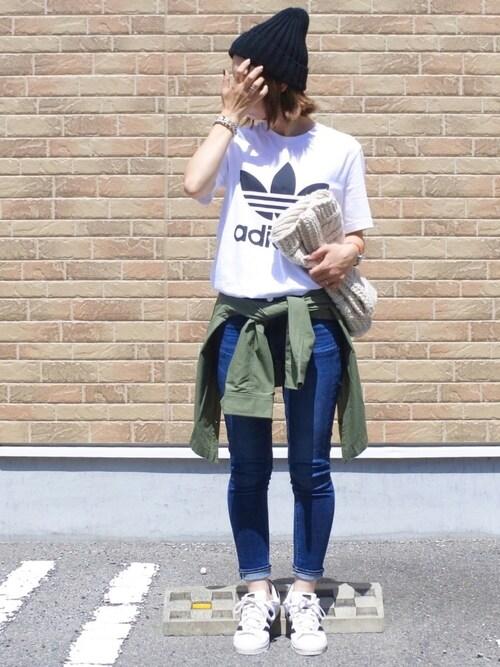 maamin♡さんの「【adicolor】オリジナルス ロゴTシャツ [ORIG TREFOIL TEE](adidas)」を使ったコーディネート