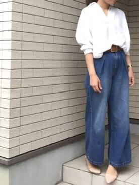 hiromama。さんの「アソートスキッパーシャツ 742473(LOWRYS FARM)」を使ったコーディネート