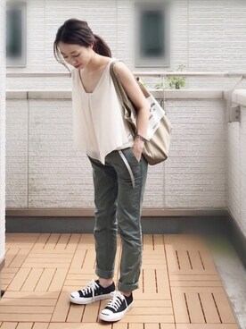 Kay-teeeさんの「Twill stripe girlfriend chino(GAP|ギャップ)」を使ったコーディネート